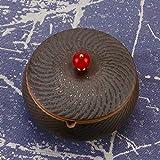 ONEDERZ Aschenbecher für Draußen mit Deckel, Keramik Windaschenbecher Geruchsdicht Sturmaschenbecher für Home Office Dekoration (Braun) - 7