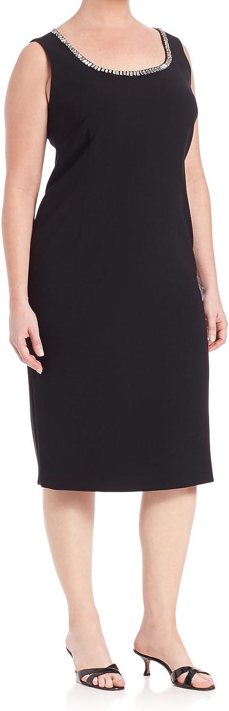 Marina Rinaldi Women's Diabase Embellished Neck Dress Black