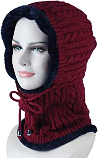 Hat Fashion Outdoor Ski Warm Hooded Hat Thick Knit Hat Siamese Wool Hat Fashion Accessories (Color : Red)