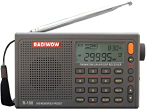RADIWOW R-108 FM Stereo/LW/MW/SW/AIR Band/DSP Full Band Portable Radio with Headphones..