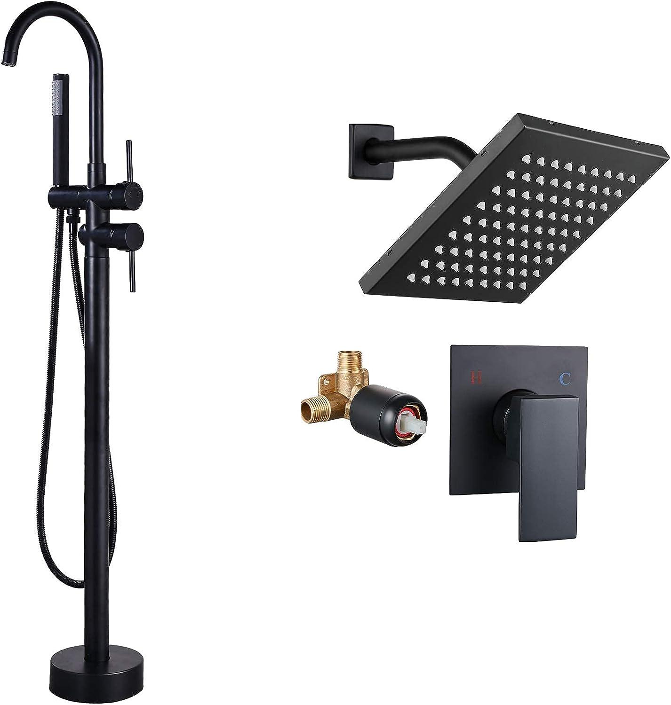Max 78% Super special price OFF Aolemi Floor Mount Bathtub Faucet Freestanding Filler Tub Black