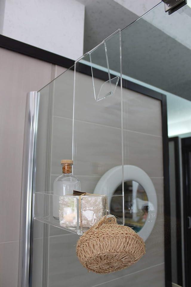 Agplex - Duschregal mit Duschablage und Handtuchhalter - aus Acrylglas - Maße: 24 x 20 x H 45 cm