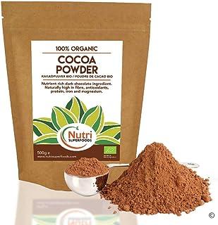 Cacao en Polvo Orgánico - Vegano, Ingrediente de chocolate oscuro puro - Sin azúcar e Ideal para hornear, chocolate caliente y batidos - 500g