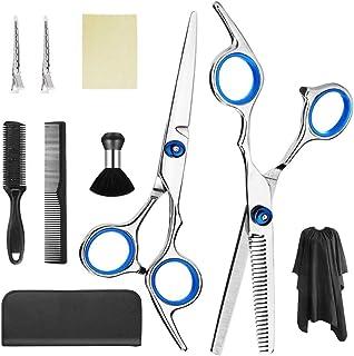gracosy Hårklippning saxuppsättning 10 st frisörsax-kit, professionella hårklippningssaxar med uttunnande sax, hårrakkniva...