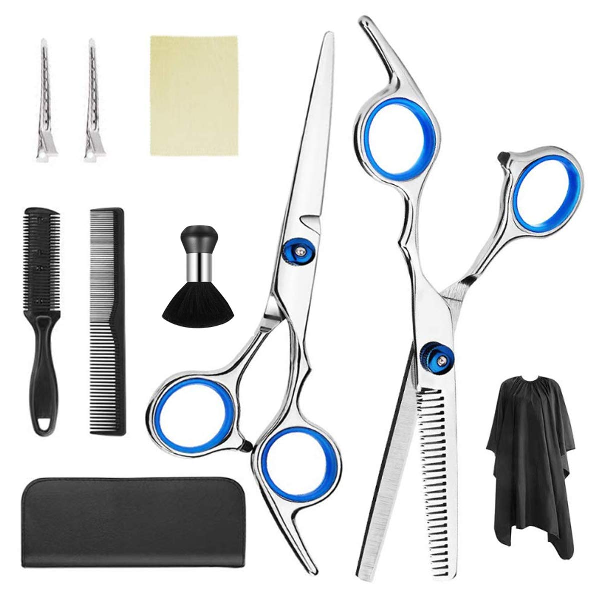 Pumoes 10 PCS Hair Cutting Scissors Kit Professional Hair Trimming Set with Thinning Shears,Hair Razor Comb,Clips,Cape for Men Women Pet Hairdresser Home,Barber Hairdressing Supplies Tools : Beauty & Personal Care