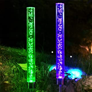 Dolucky 2pcs Garden Solar Lights Outdoor Decorative Solar Acrylic Bubble RGB Color Changing Solar Powered Landscape Lighting for Garden Patio Backyard Pathway Decoration