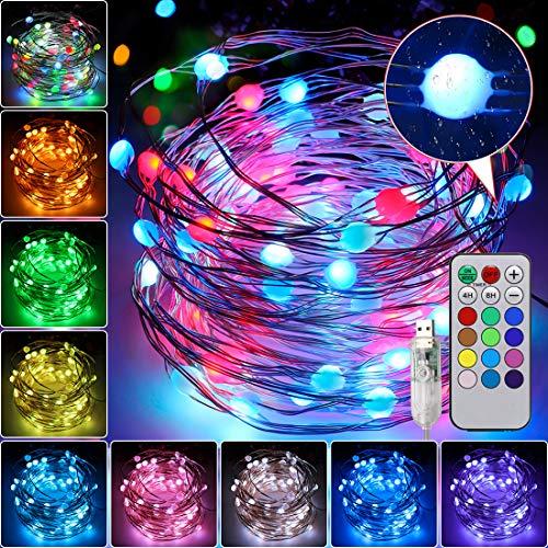 Luces de Hadas 10M 100LED, 12 colores Regulables Celebración Halloween Pascua Navidad Festival Cumpleaños Boda Fiesta Jardín de Bricolaje Decoración del Hogar Lluminación USB con Interruptor