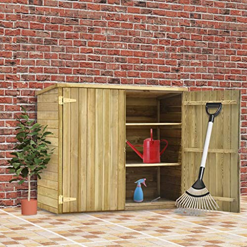 Festnight Garten-Geräteschuppen 135x60x123 cm Kiefernholz Imprägniert Lagerschuppen Gartenschrank Gartenhaus