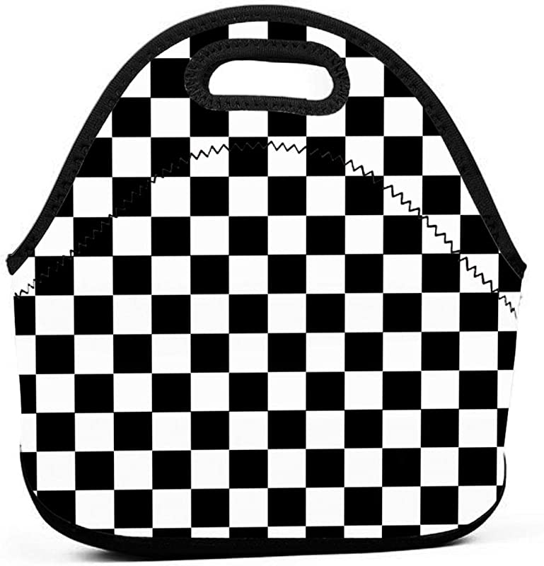 Fashion Reborn Neoprene Lunch Tote Insulated Reusable Picnic Lunch Bags Boxes For Men Women Children Kid Adults Toddler Nurses Race Waving Checkered Flag