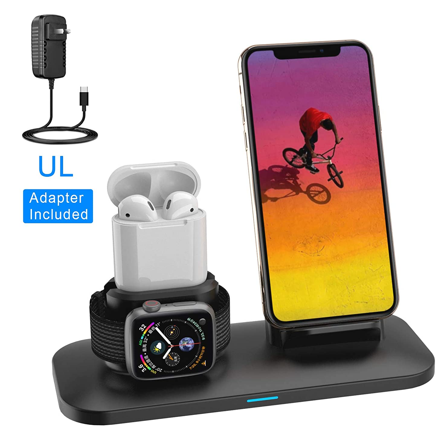 Wireless Charger, 3 in 1 Wireless Charging Stand for Apple Watch and iPhone Airpods, Wireless Charging Station Apple Watch Charger for iPhone X/XS/XR/Xs Max/8/8 Plus Apple Watch 4 3 2 1 Airpods 1 2