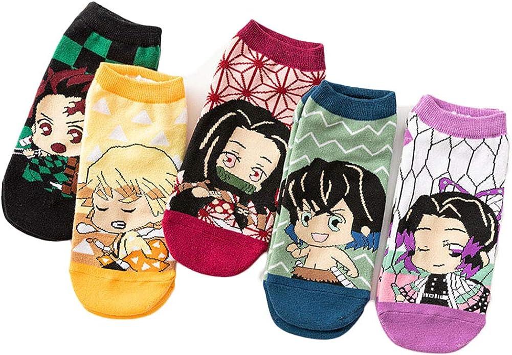 GDAMSTO Demon Slayer Low Cut Footsocks Anime Kimetsu no Yaiba Nezuko Tanjirou Casual Ankle Socks Winter Warm Cotton Adults 5 Pairs
