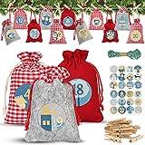 Calendario de Adviento, Set de 24 Calendario de Adviento para Rellenar, con Calendario de Adviento Casero, Bolsas Pequeñas Navidad, Bolsa de Regalo Navidad, Decoración Navideña para el Hogar - 24 PCS