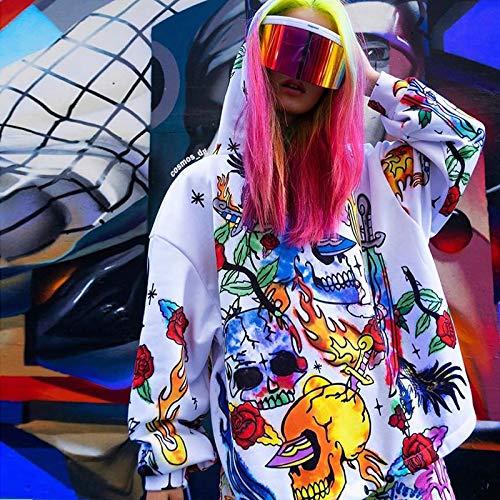JUFENG 2019 Herbst Winter Frauen Lange Sweatshirt Pullover übergroße Kapuze Streetwear Festival Kleidung Gothic Flame Print Lose