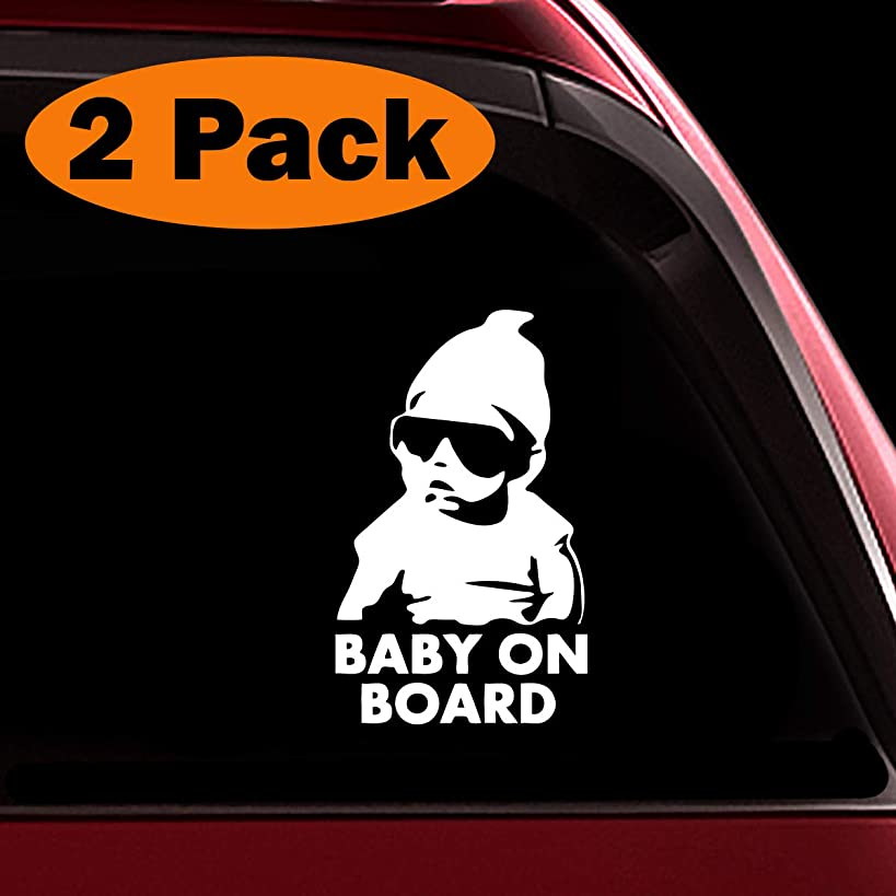 TOTOMO Baby on Board Sticker - (Set of 2) Funny Safety Caution Decal Sign with Carlos from The Hangover for Car Windows and Bumpers ALI-019