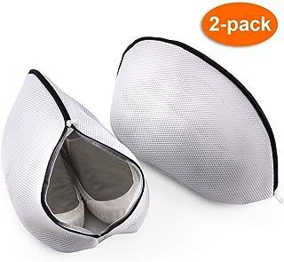 LegendTech 2 Stück Wäschenetz für SchuheSneaker mit Reißverschluss, 2Schuhhaken 19x36x19cm Waschbeutel für Sportschuhe Schuhe Mesh Bag Laundry