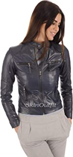 SKINOUTFIT Womens Leather Jackets Motorcycle Bomber Biker Genuine Lambskin 08