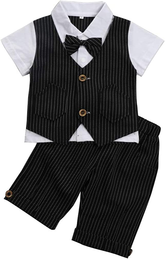Baby Boy Gentleman Outfit, Short Sleeve T-Shirt with Fake Vest & Pants & Bowtie, Infant Boy Clothes Suit for Dress Up (1-4T)