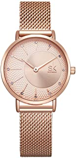 SK Simple Watches Analog Mesh Watches for Women Stainless Steel Band reloj de Mujer (K0093-Rose Gold)