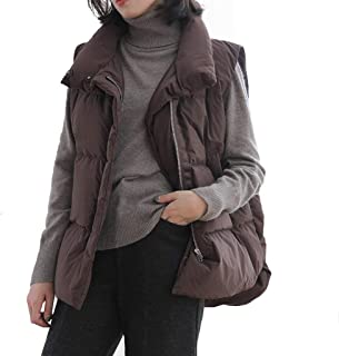 Womens Down Vest Zip Up Sleeveless Lightweight Quilted Padded Casual Stand Collar Jackets Outerwear, Warm Gilet with Pockets (Color : Brown)