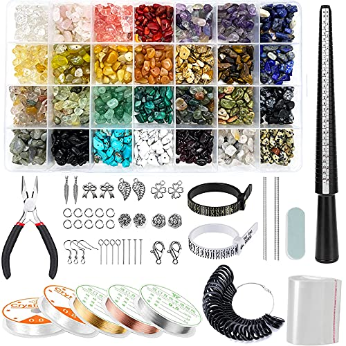 1784Pcs Jewelry Making Kit with 28 Colors Gemstone Crystal Beads, Earring Making Kit with Silver Charms, Jewelry Beading Wire, Plier, DIY Ring Sizer Measuring Tool for Girls, Women, Adults