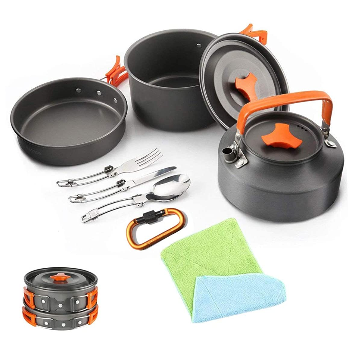 Zxcvlina Portable Camping Pot pan Collapsible Lightweight Aluminium Camping Cookware Mess Kit Pot Pan Kettle Spork Hook Cooking Equipment Outdoor Backpacking Cookset with Mesh Bag