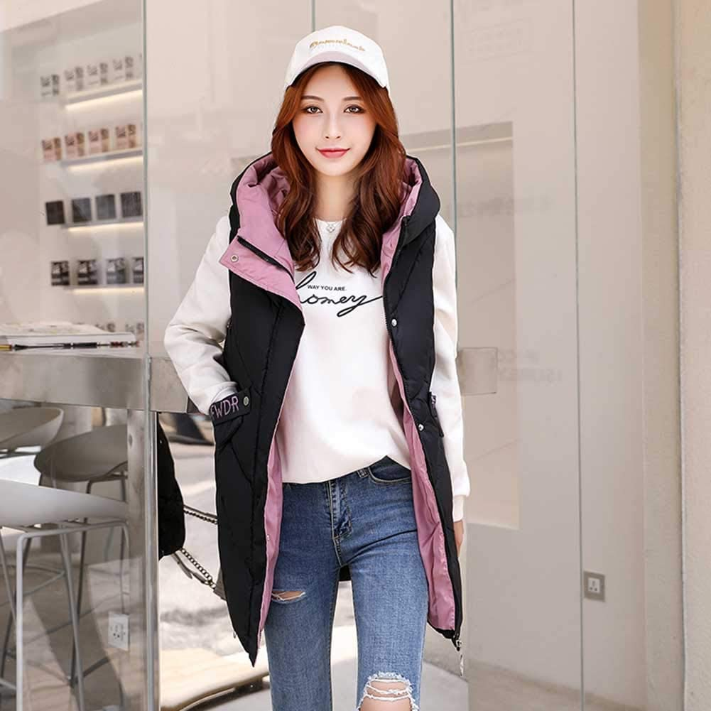 RSTJ-Sjc Women's Stand Collar Lightweight Quilted Vest Jacket with Hood, Leisure Printing Cotton Vest Female Fall and Winter Long Section of Thicker Loose Sleeveless Vest Waistcoat,Black,XXL
