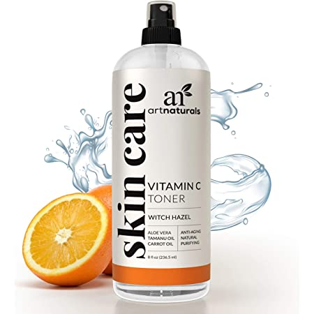 ArtNaturals Vitamin C Facial Toner - (8 Fl Oz / 236ml) - Organic Aloe Vera, Witch Hazel, Rose-Water - Hydrating Anti-Aging Cleanser and Pore Minimizer for Face - for Oily Skin and Acne - Women and Men