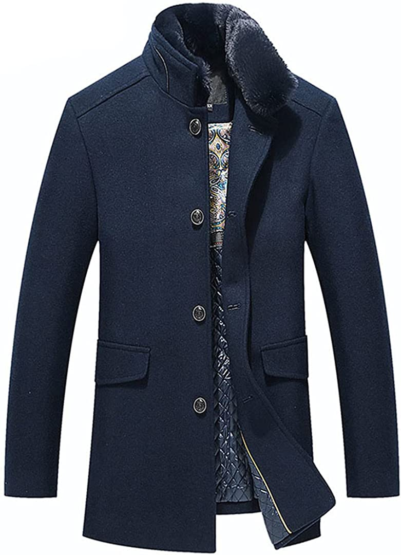 Wool Coat Men Winter Slim Fit England Style Woolen Coat Men Clothing Mid-Long Wool Coats Jackets