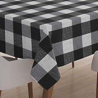 Encasa Homes obrus na stół do jadalni 6-osobowy w środku - bawoł czarne kratki, (142 x 240 cm) - tkanina barwiona przędzą,...