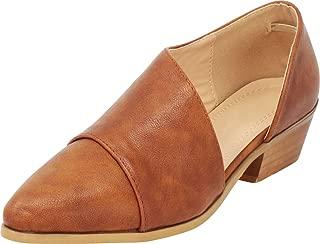 Women's Pointed Toe Open Shank Chunky Block Low Heel Shootie Ankle Bootie