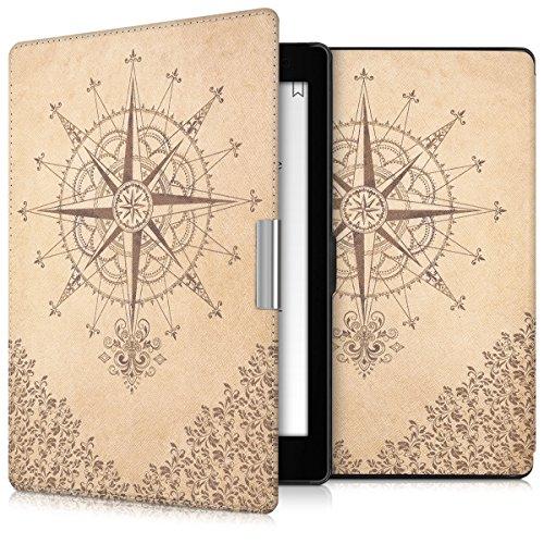 kwmobile Hülle kompatibel mit Kobo Aura ONE - Kunstleder eReader Schutzhülle Cover Case - Kompass Barock Dunkelbraun Beige