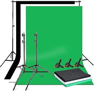 YISITONG 背景スタンドキット 写真撮影用 背景サポートシステム 調節可能 背景スタンド(2*3m)+三色綿布背景布 白 黒 緑 (1.7*2.8m)+強力クリップ*3 写真撮影用