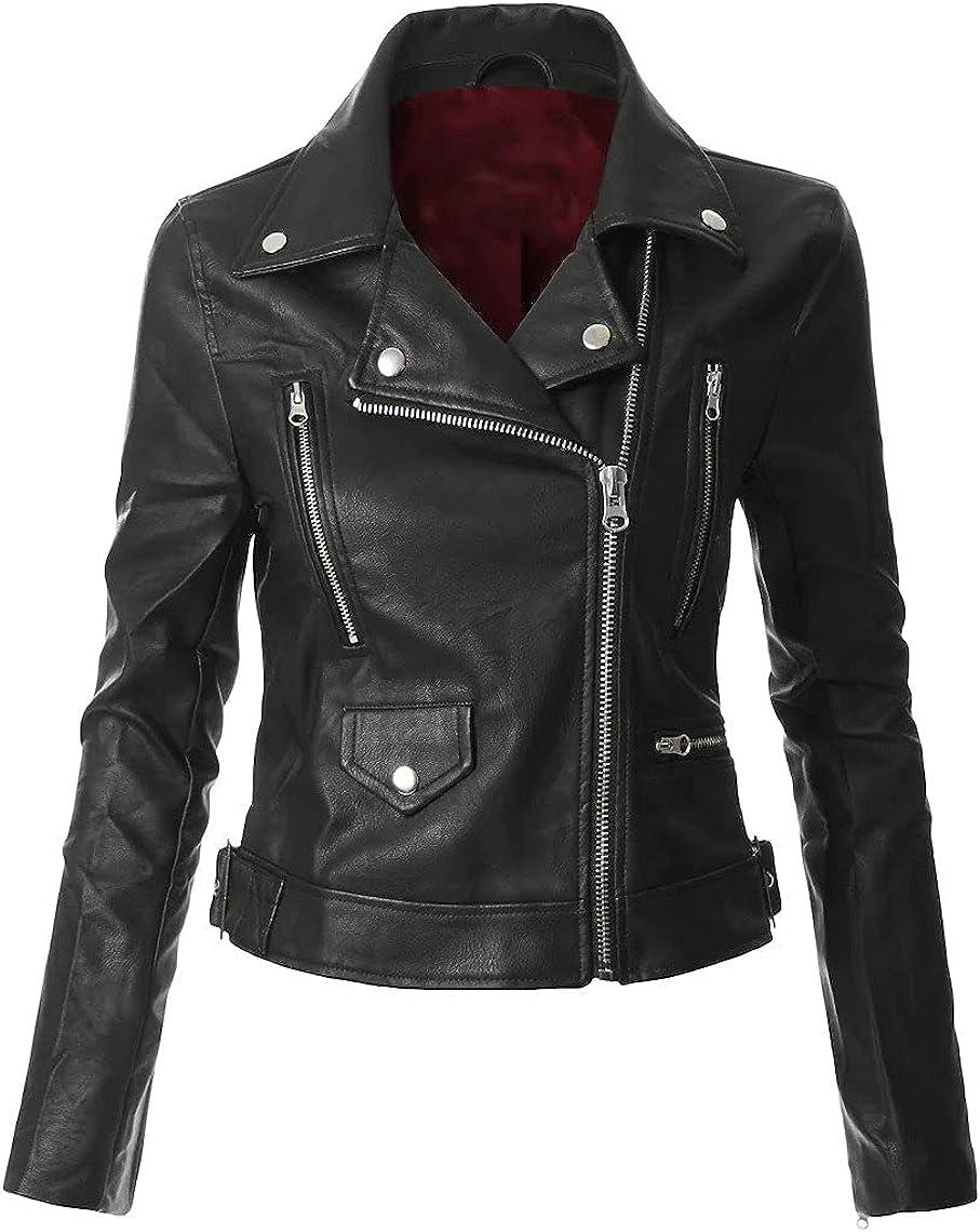 Eddie's Black Leather Crop Jacket- Personalize Black Moto Faux Leather Woman's
