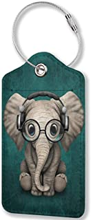 Elephant Baby Wearing Glasses & Headphones Luggage Tags,PU Leather Name ID Labels with Privacy Cover for Travel Baggage Ba...