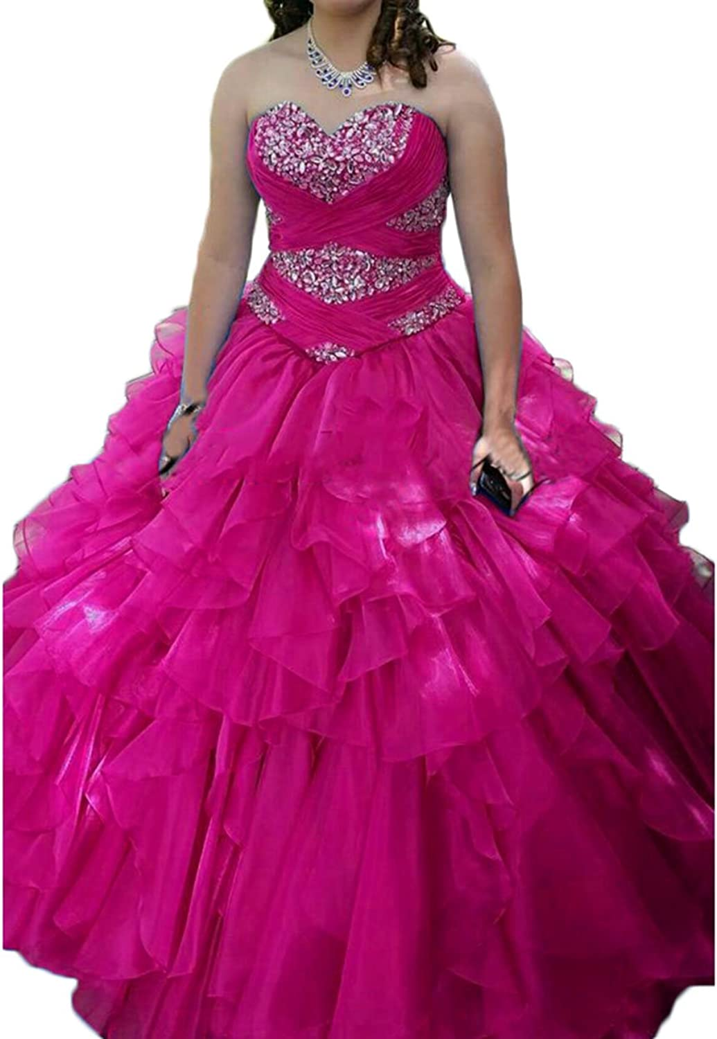 Alilith.Z Sexy Sweetheart Puffy Princess Prom Dresses Long Beaded Quinceanera Dresses Ball Gown Women 2018 New