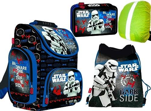 4-teiliges Schulranzenset Star Wars Schulranzen, 2-fache gefüllte Federtasche, Schuhbeutel, Ranzen Regenschutz