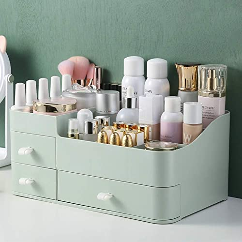 MIUOPUR Makeup Organizer for Vanity, Large Capacity Desk Organizer with Drawers for Cosmetics, Lipsticks, Jewelry, Nail Care, Skincare, Ideal for Bedroom and Bathroom Countertops - Large Green