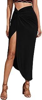 SheIn Women's Sexy Twist Side Asymmetrical Hem Split Thigh Solid Long Skirt