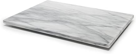 Large Marble Stone Pastry Board/Cutting Board, Natural Non-Stick and Stay-Cool Properties, 12 x 16-Inch, White