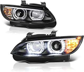 VIPMOTOZ F'King Bright Series LED Halo Ring Black Housing Projector Headlight Headlamp Assembly For 2007-2010 BMW 3-Series E92 & E93 328i 335i M3 Coupe Convertible, Driver & Passenger Side