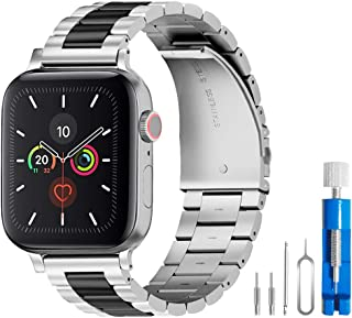U191U Band Compatible with Apple Watch 38mm 42mm Stainless Steel Wristband Metal Buckle Clasp iWatch 40mm 44mm Strap Bracelet for Apple Watch Series 4/3/2/1 Sports Edition(Silver/Black, 38MM)