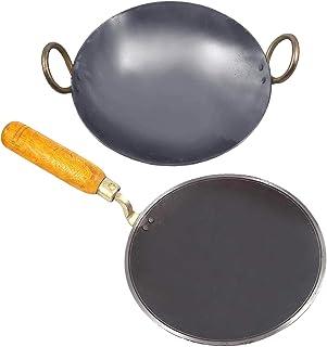KITCHEN SHOPEE Iron Cookware Set- 8 inch kadhai 10 inch tawa