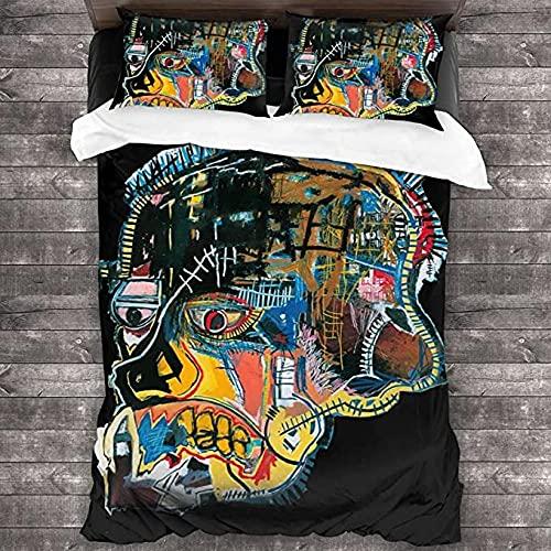 HSBZLH Sábanas Y Fundas De Edredón Juego Fundas Nórdicas Jean Michel Basquiat 3 Piezas Edredón Decorativo Tela Poliéster Suave Alta Densidad con 2 Fundas Almohada Y Cierre Cremallera