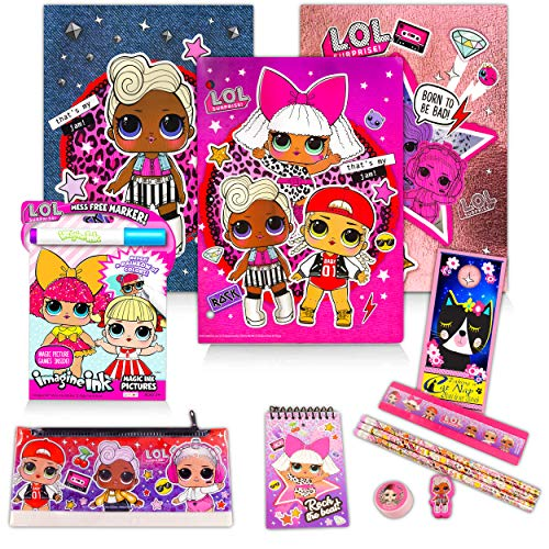 LOL Doll School Supplies Value Set Bundle - 13 Pcs Lol Doll Activity Pack with Folders, Notebooks, Memo Pad, Ruler, and More