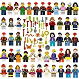 Miin Little People Toy Set of 48 Minifigures Building Bricks Community People with Accessories, Building Party Toys Gift …