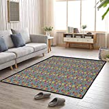 Retro Area Rug for Living Room 6'x9' Gifts for Men Various Different Cartoon Style Figures on Black and White Stripes Quirky Collection Multicolor