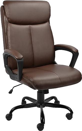 BASETBL Bürostuhl Schreibtischstuhl Ergonomisch Chefsessel mit gepolsterter Armlehne und weiche Kopfstütze, Rückenlehne, drehbar und Wippfunktion,…
