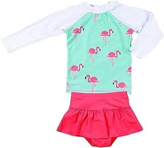 Collager Baby Girls Kids 2Pcs Long Sleeve Flamingo Swimsuit Rash Guard Bathing Suit UPF 50+ UV