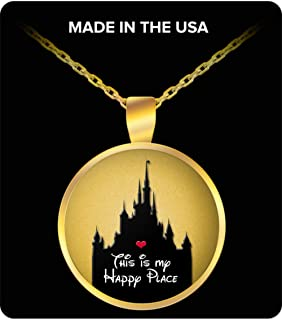 Disney Happy Place Gift for Women Necklace Castle Disneyland Heart Love