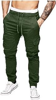Mens Cargo Jogger Pants Twill Chino Drawstring Elastic Sports Trousers